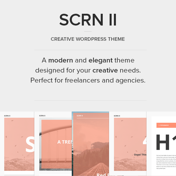 SCRN II - Creative Portfolio WordPress Theme